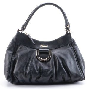 Authentic GUCCI Black Leather D-Ring Hobo